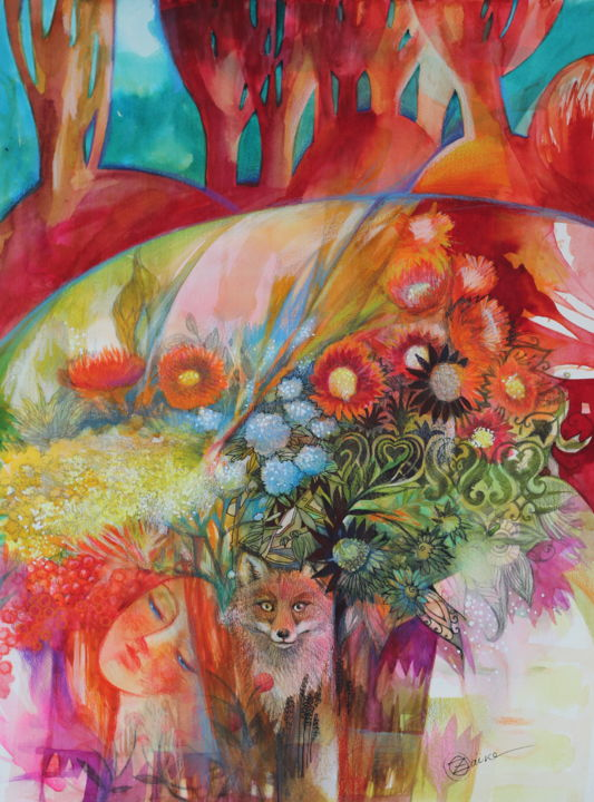 L'automne - Painting,  22.1x16.5 in, ©2020 by Oxana Zaika -                                                                                                                                                                                                                                                                                                                                                                                                                                                                                                                                              Figurative, figurative-594, Animals, Colors, Fantasy, Flower, Nature, l'automne, renard, fleurs, arbres