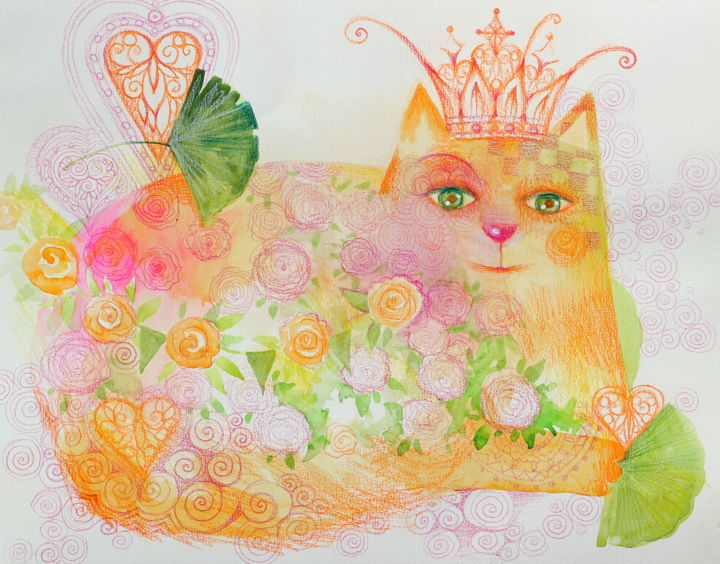 La reine - Peinture,  13x16,5 in, ©2020 par Oxana Zaika -                                                                                                                                                                                                                                                                                                                                                                                                          Figurative, figurative-594, artwork_cat.Love/Romance, Animaux, artwork_cat.Cats, reine, chat, boho