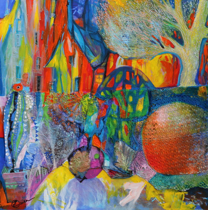 les lueurs de la ville - Collages,  19.7x19.7x0.1 in, ©2020 by Oxana Zaika -                                                                                                                                                                                                                                                                                                                                                                                                                                                                                                                                                                                          Abstract, abstract-570, Colors, Water, Home, Cityscape, Cities, ville, nuit, lumiere, arbre, pomme
