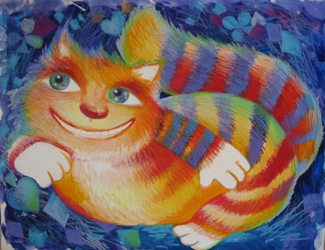 CHAT DU CHESHIRE - Painting,  12.6x16.1 in, ©2007 by Oxana Zaika -