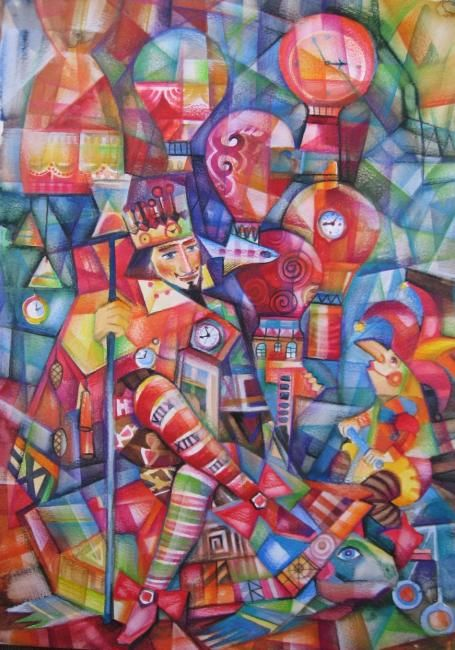 LE ROI DU TEMPS - Painting,  16.5x11.4 in, ©2007 by Oxana Zaika -