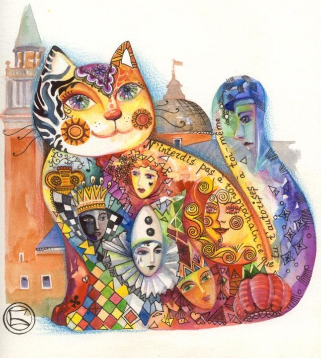 Chat  de Venise  - Painting,  9.5x9.5 in, ©2006 by Oxana Zaika -                                                              chat  venise carnaval