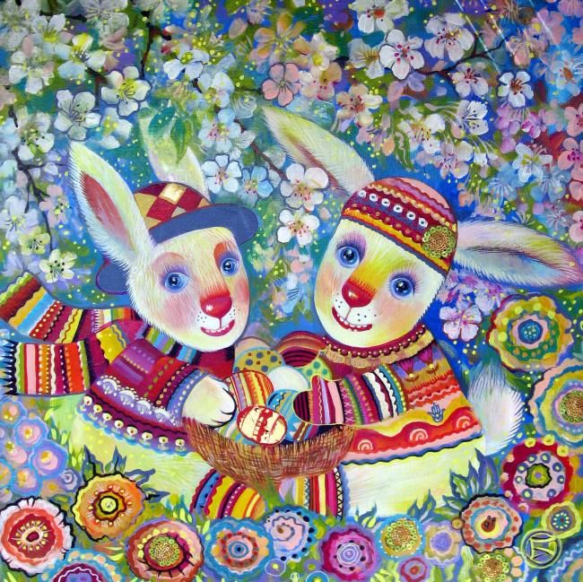 Lapins du soleil - Painting,  50x50 cm ©2010 by Oxana Zaika -                                                                                                                        Art Deco, Naive Art, Contemporary painting, Canvas, Love / Romance, Animals, Kids, Fantasy, Lapins, paque