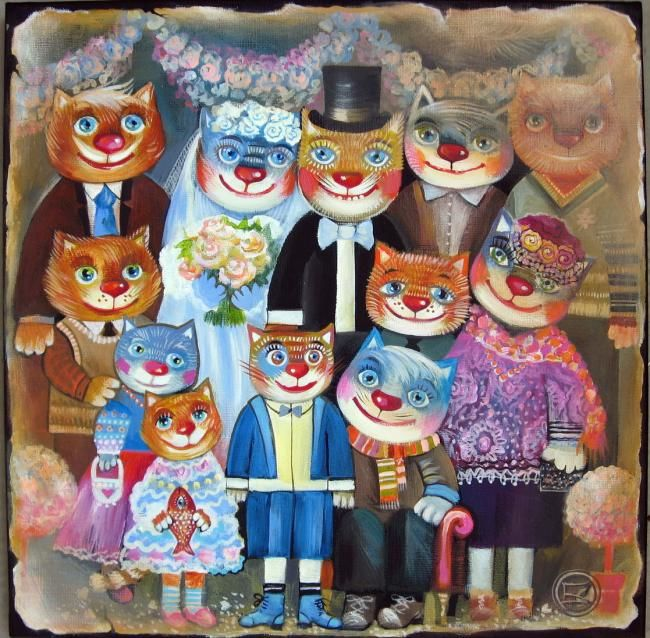 Photo de famille - Painting,  40x40 cm ©2010 by Oxana Zaika -                                                                                                                                    Art Deco, Documentary, Illustration, Contemporary painting, Canvas, Animals, Cats, Children, Family, photo de famille, chat, chats
