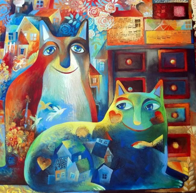 LES CHATS DE CHAGALL - Painting,  23.6x23.6 in, ©2011 by Oxana Zaika -                                                              CHAT