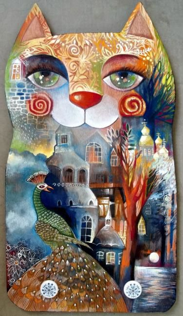 Chat! - Painting,  22.1x11.8 in, ©2011 by Oxana Zaika -                                                              chat