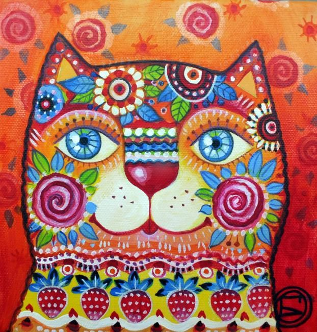Chat deco - Painting,  7.9x7.9 in, ©2012 by Oxana Zaika -                                                                                                                                                      chat, cat, katze