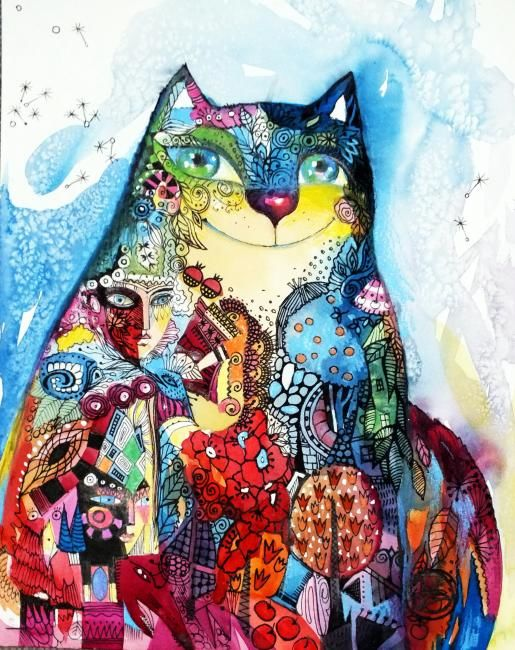 Chat masque - Painting,  30x24 cm ©2012 by Oxana Zaika -            chat