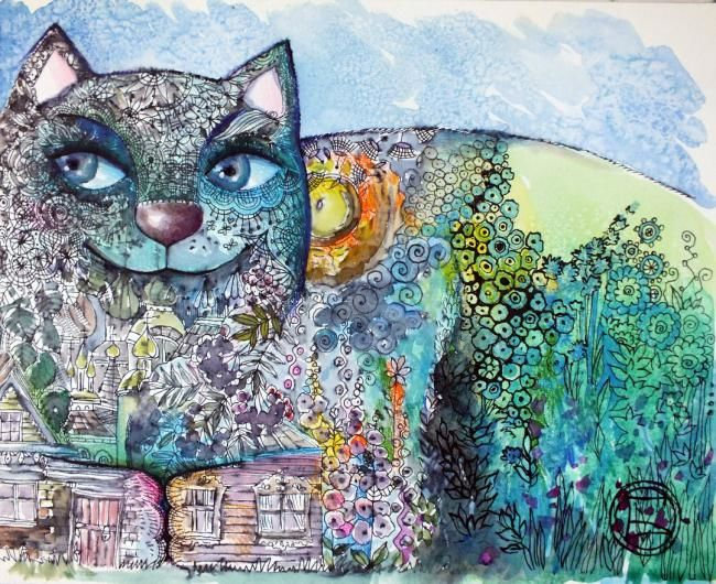Chat de mai - Painting,  9.5x11.8 in, ©2012 by Oxana Zaika -                                                                                                                                                                          Classicism, classicism-933, chat