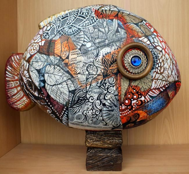 Poisson - Collages,  11.8x16.1 in, ©2012 by Oxana Zaika -                                                                                                                                                                                                                                                                                                                                                                                                                                                          Abstract, abstract-570, Other, Wood, Paper, Fish, poisson, sculpture, mixt
