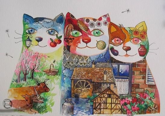 Chats des terroirs - Painting,  11.4x16.5 in, ©2006 by Oxana Zaika -
