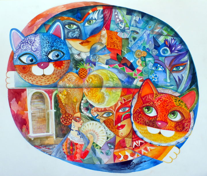 Venise Chats - Painting,  49x59 cm ©2015 by Oxana Zaika -                                                            Figurative Art, Paper, Animals, Venise, chat, chats, carnaval