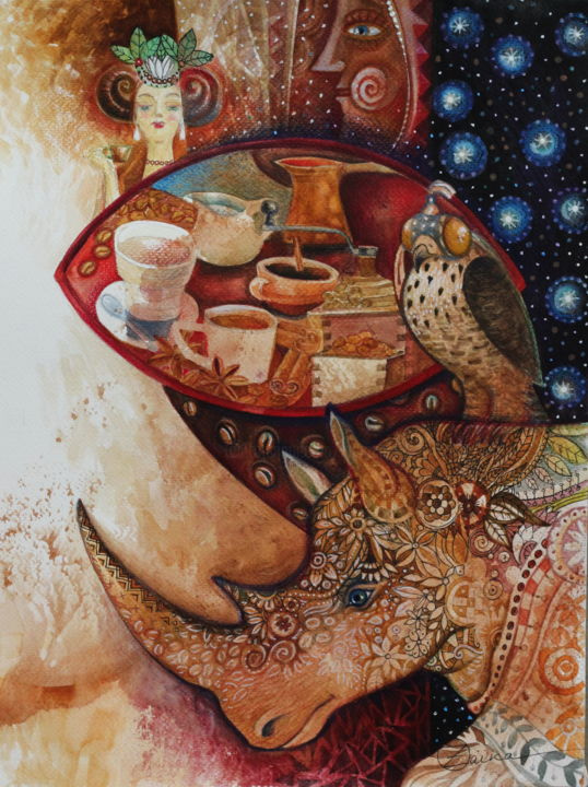 Goddess of coffee - Painting,  15.8x11.8 in, ©2015 by Oxana Zaika -                                                                                                                                                                                                                          Abstract, abstract-570, Fantasy, coffee