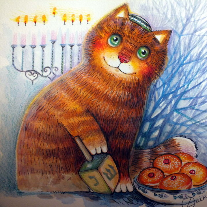 happy hanukkah - Painting,  9.5x9.5 in, ©2015 by Oxana Zaika -                                                                                                                                                                                                                                                                                                                                                                                                                                                                                                                                                                                                                                                                                                                              Figurative, figurative-594, Animals, Cats, World Culture, Still life, chat, toupie, Hanoucca, fête juive, Menora, yiddish, sevivonim, dreidel, jevish