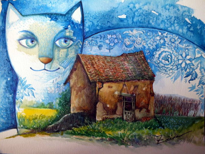 vieux maison - Painting,  24x32 cm ©2015 by Oxana Zaika -                                                                                                            Naive Art, Expressionism, Contemporary painting, Paper, Animals, Cats, Home, maison, france, vieux