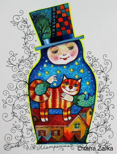Russian doll painting 30x23 cm 2016 by oxana zaika art deco