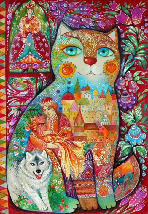 Ivan tsarévitch et le loup gris - Painting,  16.5x11.4 in, ©2016 by Oxana Zaika -                                                                                                                                                                                                                                                                                                                                                                                                                                                                                                                                                                                                                                                                                  Naive Art, naive-art-948, Animals, Cats, Culture, World Culture, ivan tsarévitch, loup, folklore russe, russe, conte, chat, chats, oxana zaika