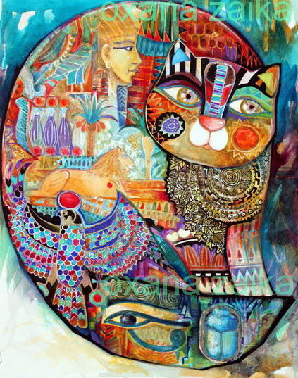 Égypte cat - Painting,  41x32 cm ©2017 by Oxana Zaika -                                                                                                            Art Deco, Figurative Art, Classicism, Paper, Cats, World Culture, History, egypte, chat, chats, histoire