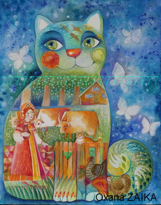 Russe - Painting,  41x32x0.1 cm ©2017 by Oxana Zaika -                                                                                                Figurative Art, Classicism, Paper, Animals, Cats, World Culture, russe, aquarelle, chat, chats, folk