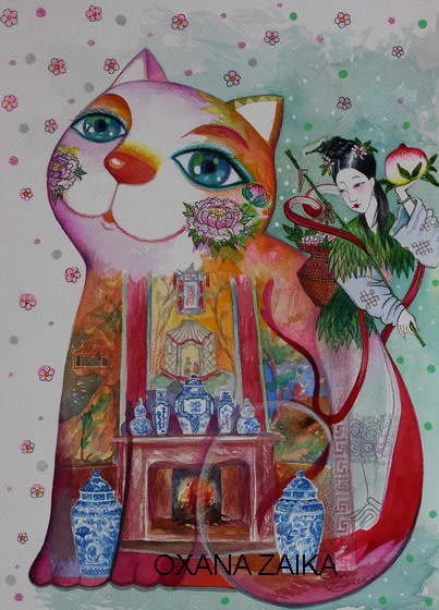 Chinese cabinet - Painting,  36x26 cm ©2017 by Oxana Zaika -                                                                                                            Art Deco, Figurative Art, Paper, Animals, Cats, World Culture, Interiors, Chine, Chat, chats, Chinoise