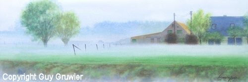 The farm on the other side - Painting,  9.8x29.1 in, ©2007 by Guy Gruwier -