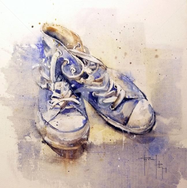 Bleu shoes - Painting ©2011 by Pascal Pihen -                            Contemporary painting, Collection La parole aux objets