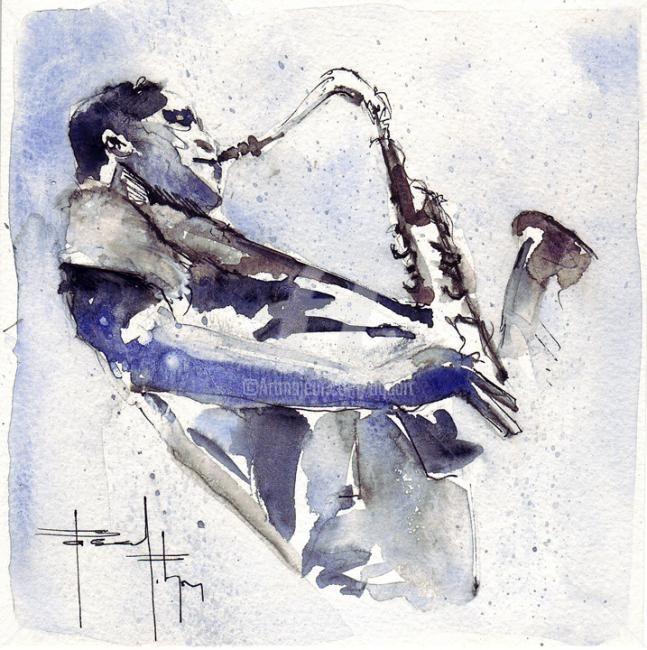 saxophoniste - Painting ©2011 by Pascal Pihen -                            Contemporary painting, vibration jazz