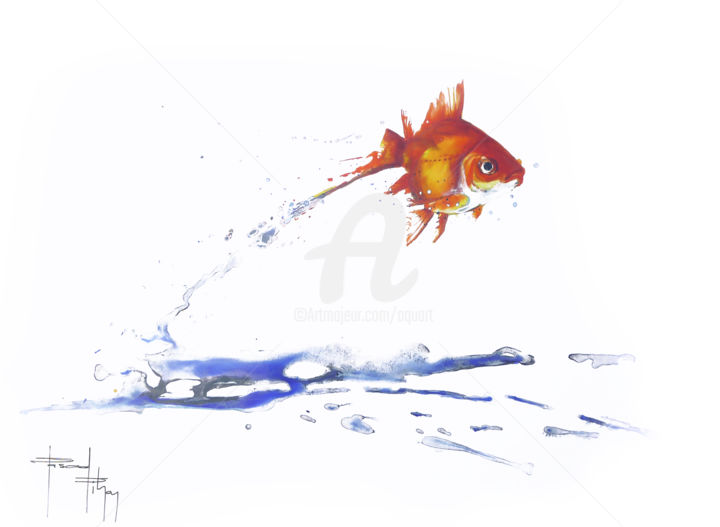 red-fich.jpg - Painting ©2013 by Pascal Pihen -                                                            Figurative Art, Paper, Fish, poisson rouge