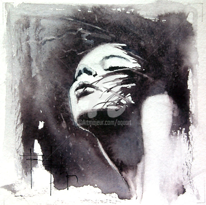 Black & white.jpg - Painting ©2014 by Pascal Pihen -                                                            Figurative Art, Paper, Women, Visage