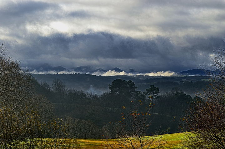pays basque  2 - Photography,  11.8x15.8 in, ©2020 by Aquartistiq -                                                                                                                                                          Mountainscape, paysage, brouillard