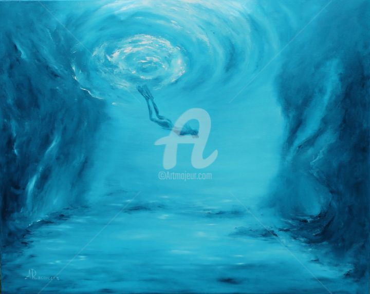 """Painting titled """"'Underwater cave',…"""" by Anastasia Racovcena, Original Art, Oil"""