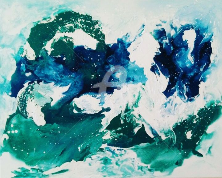 """Painting titled """"""""Breath of the ocea…"""" by Anastasia Racovcena, Original Art, Oil"""