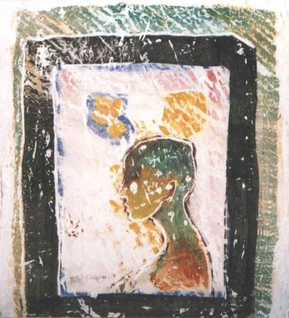 portre in passato - Painting,  10.6x7.9 in, ©1999 by Yacob Ibrahim -