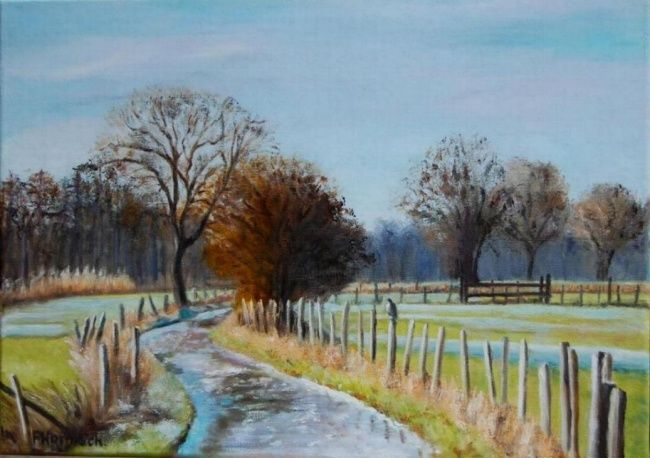 Gelée blanche - Painting,  13x18.1 in, ©2010 by Pascale Harnisch Sydein -                                                                                                                                                                                                                          Figurative, figurative-594, Landscape, gelée blanche hiver froid Zillisheim chemin