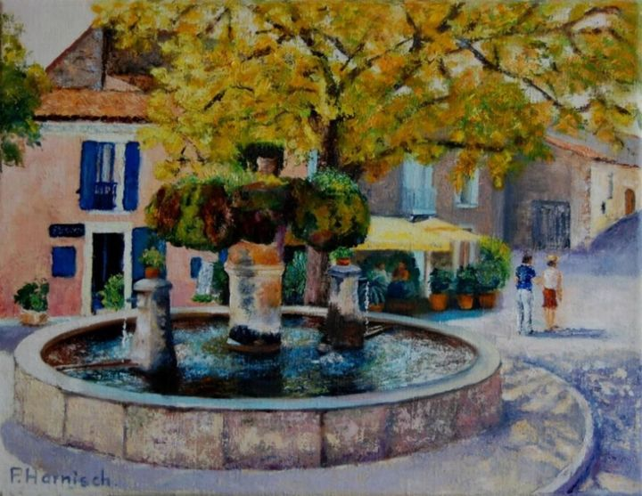 Fontaine à Vaugines - Painting,  10.6x13.8 in, ©2009 by Pascale Harnisch Sydein -                                                                                                                                                                                                                          Figurative, figurative-594, Landscape, paysage vaugines provence fontaine provençale village