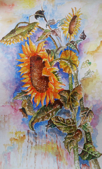 """Painting titled """"sunflower"""" by Ayeh, Original Art, Watercolor"""