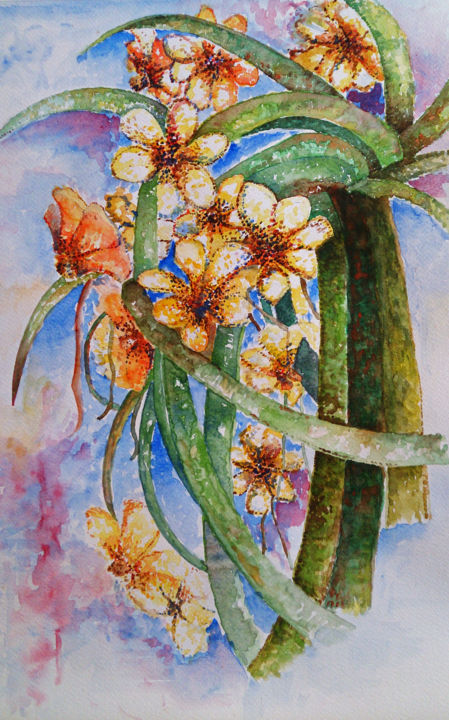 """Painting titled """"Flower"""" by Ayeh, Original Art, Watercolor"""