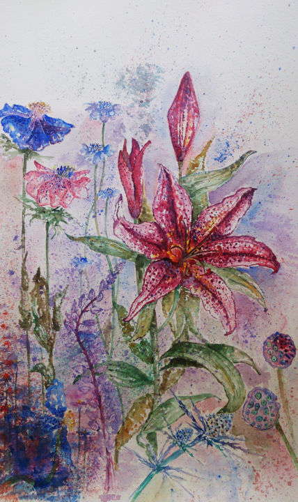 """Painting titled """"Flower3"""" by Ayeh, Original Art, Watercolor"""