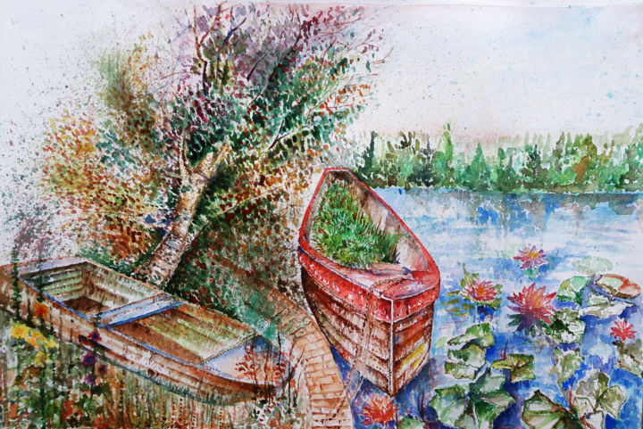 """Painting titled """"boat"""" by Ayeh, Original Art, Watercolor"""