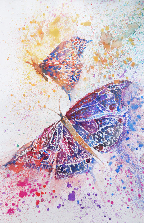 """Painting titled """"Butterfly"""" by Ayeh, Original Art, Watercolor"""