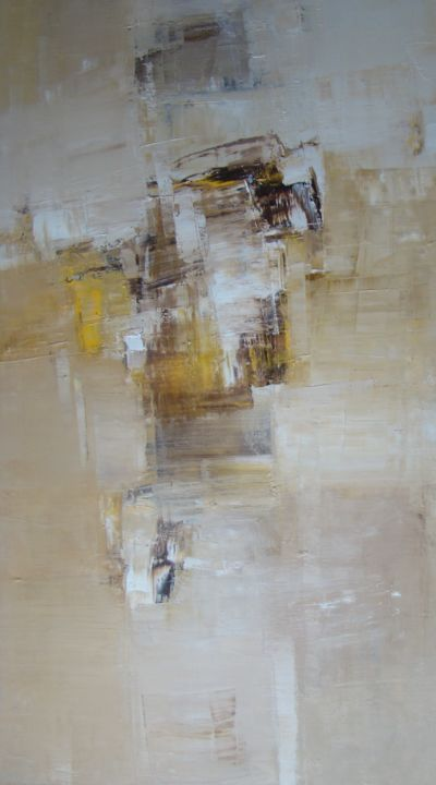 silence 8 - Painting,  25.6x45.3x0.8 in, ©2018 by Kitaieva Iryna -                                                                                                                                                                                                                                                                                                                                                                                                                                                                                                                                                                                              Abstract, abstract-570, Cotton, Canvas, Abstract Art, Architecture, abstract painting, beige abstract, organic abstract, monochrome painting, artcollector, interiors