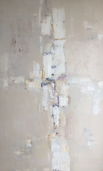 white infinity 45 - Painting,  51.2x31.5x0.8 in, ©2019 by Kitaieva Iryna -                                                                                                                                                                                                                                                                                                                                                              Abstract, abstract-570, Abstract Art, abstract, nude abstract, beige and white abstract, interiors