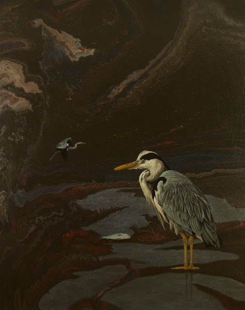 """Painting titled """"Tide of Oil"""" by Archie Batten, Original Art,"""