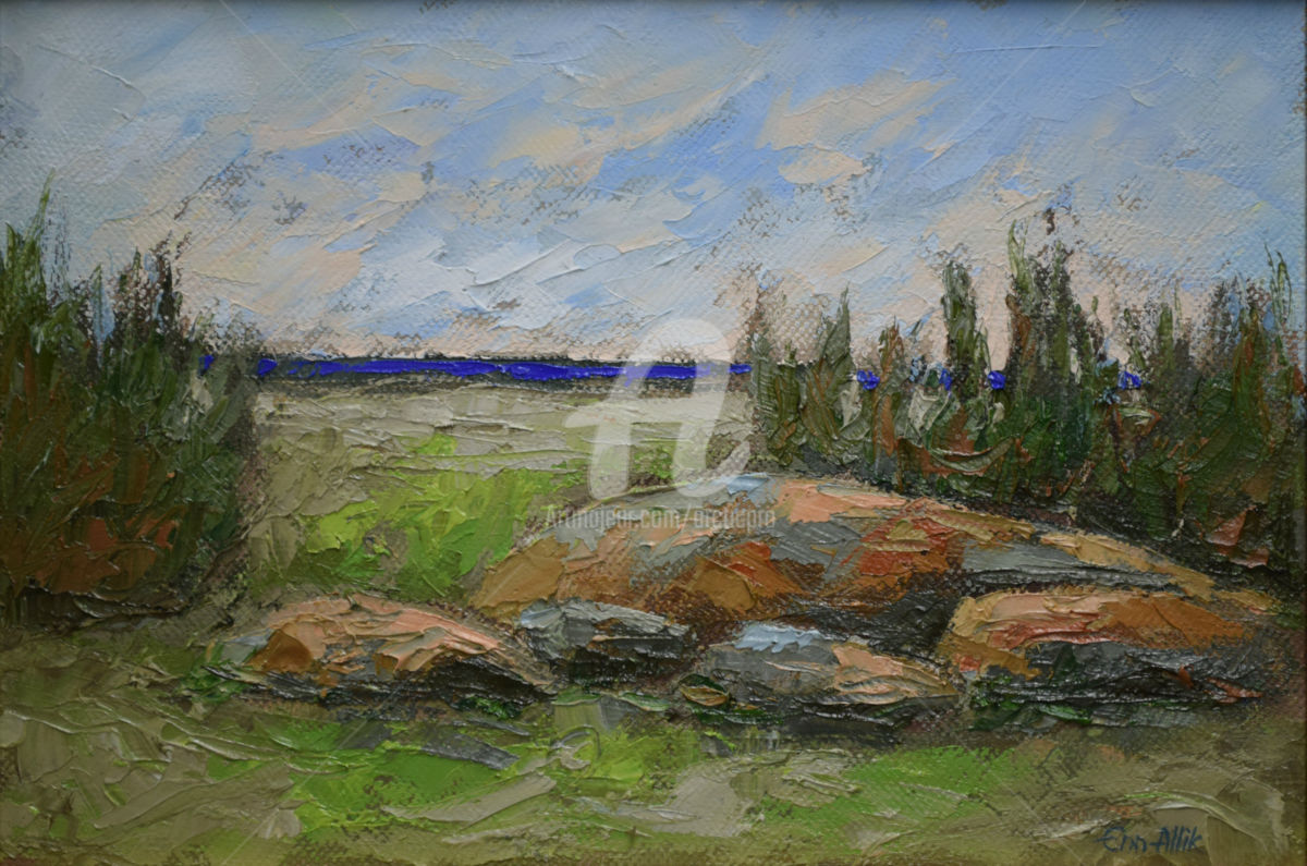 Ranna Kivid by Enn Allik - Painting,  22x31 cm ©2014 by Enn Allik -                                                            Figurative Art, Canvas, Landscape, landscape, rocks, maisema, kiviä, ranta, lake shore, ranna kivid, enn allik, oil painting on canvas, öljyvärimaalaus kankaalle, #en allik, #art, #estonia, #oilpainting, artwork