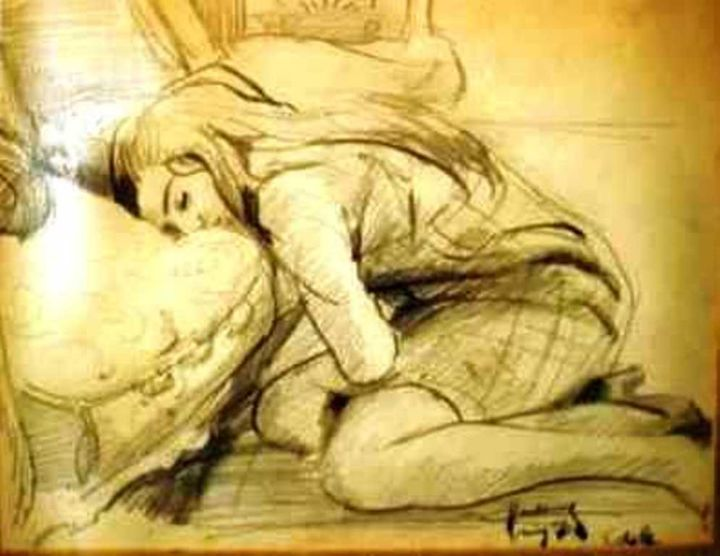 Dormeuse - Drawing, ©1970 by Claude Hardenne -                                                                                                                                                                          Figurative, figurative-594, Other
