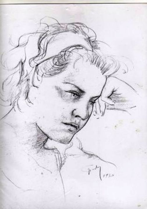 Jeune fille - Drawing, ©1970 by Claude Hardenne -