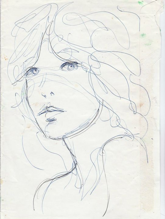 VISAGE - Drawing, ©1997 by Claude Hardenne -