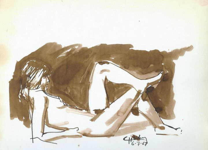 Coco posant - Drawing ©1967 by Claude Hardenne -