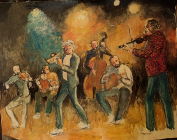JAZZ (in progress) - Painting ©2018 by Claude Hardenne -