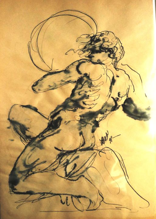 Ignudo (d'après Michel-Ange) - Drawing ©2019 by Claude Hardenne -